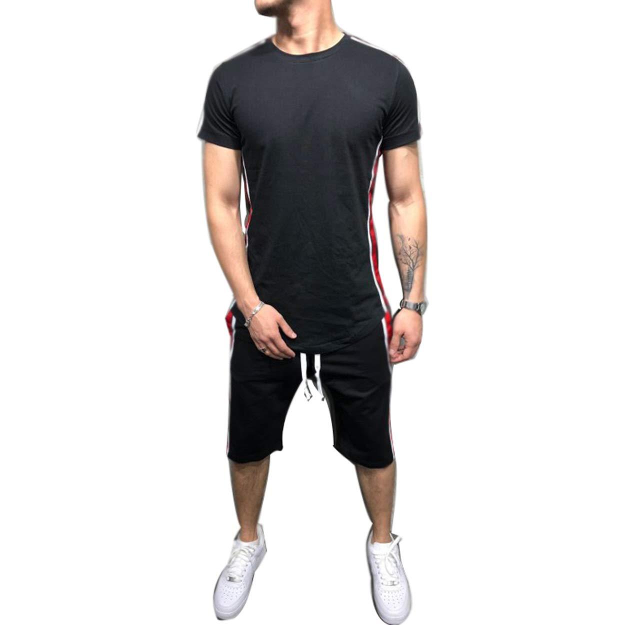 Swim Shirt Trunks Suit Set AMILIEe Surf Mens Short Sleeve Rashguard UPF 50