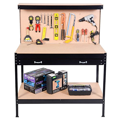 Work Bench Steel Frame Tool Storage Workshop Table With Drawers and Peg Board ,product_by: patsbargainhut14 it#109252466758561 by Regarmans