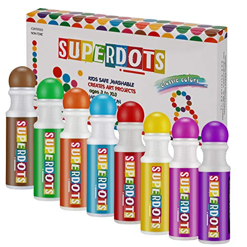 Washable Dot Markers, Magicfly 8 Colors Non-Toxic Paint Marker for Kids, Water-Based Dab Marker for Toddlers, Dauber Marker Perfect for Preschool Art Supply