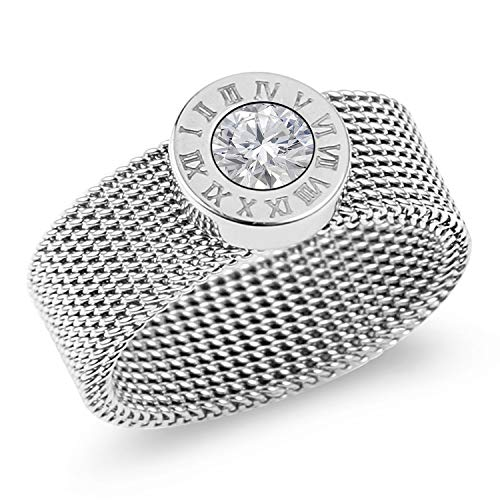 Designer Inspired Silver Titanium Steel Mesh Band Ring with Roman Numerals and Solitaire Swarovski Crystal (6) ()