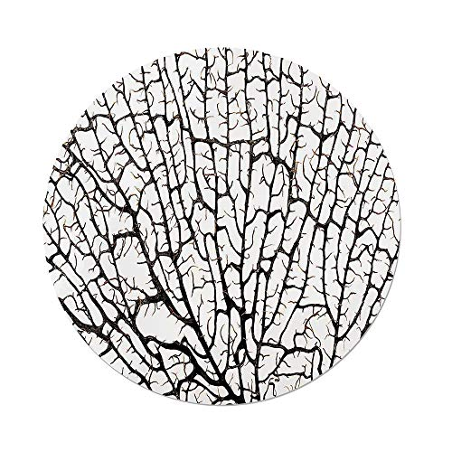 iPrint Polyester Round Tablecloth,Old Forest Decor,Cracked Curly Coral Branch Like Earth Surface Tree of Life Nature Woods Theme,Beige,Dining Room Kitchen Picnic Table Cloth Cover,for Outdoor Indoor