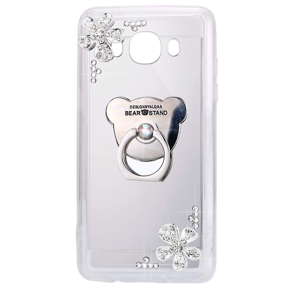 ISAKEN Custodia Galaxy J5 2016 Flip, Cover Samsung Galaxy J5 2016 Morbido Silicone TPU Bumper Ultra Sottile Specchio Cover Glitter Bling Cover Caso con Diamante [Ring Holder], Oro #1 FASNO031763