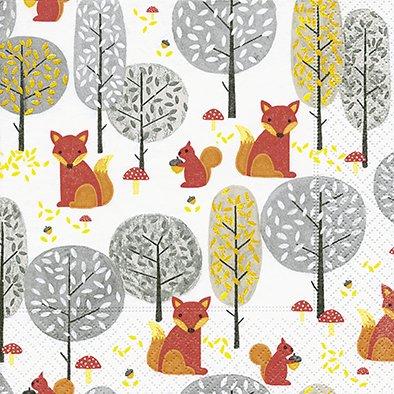 20 Servilletas 33 x 33 cm zorro ardilla animales del bosque otoño Animales Invierno