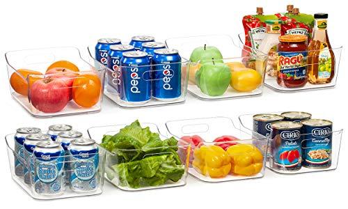 Vtopmart Refrigerator Organizer Bins 8 Pack – Clear Small Plastic Fridge Organizer with Handle for Freezer, Cabinet…