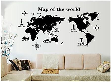 Venkaite Pegatinas Pared Mapa del Mundo Vinilos Adhesivos DIY Wall Stickers para Hogar Dormitorio Decorativos 60x120 cm (23.6x47.2 inches): Amazon.es: Hogar