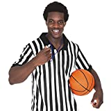 Crown Sporting Goods Men's Official Black & White Stripe Referee / Umpire Jersey - Pro-style Ref Uniform, Great for Basketball, Football, & Soccer (XL)