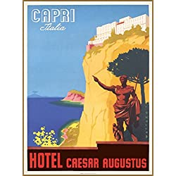 Capri Italy Italia Hotel Caesar Augustus Vintage Italian Travel Advertisement Art Poster Print Measures