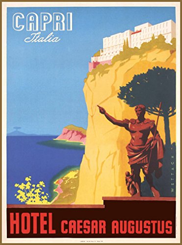 Vintage Italian Poster - A SLICE IN TIME Capri Italy Italia Hotel Caesar Augustus Vintage Italian Travel Advertisement Art Poster Print. Poster measures 10 x 13.5 inches