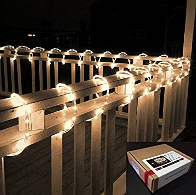 Izzy Creation 16.4FT, 12V, Warm White LED Flexible Rope Lights Kit For Indoor / Outdoor Lighting, Home, Garden, Patio, Shop Windows, Trees, New Year, Wedding, Party, Event, Boat, RV, Camping Car