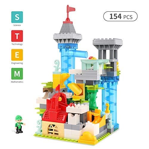 Spring Flower 154Pcs Marble Run Premium Automatic Games Set, Castle Building Blocks STEM Learning Educational Construction Toys Set for Boys and Girls in Fairy Tale Theme]()