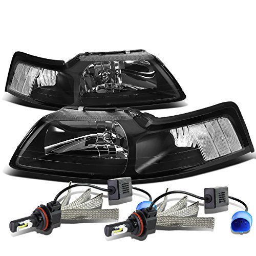 (For Ford New Edge Mustang 4th Gen Pair of Black Housing Clear Corner Headlight + 9007 LED Conversion Kit)
