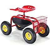 Goplus Garden Cart Rolling Work Seat Outdoor Lawn Yard Patio Scooter for Planting, Adjustable Swivel Seat w/Tool Tray (Red)