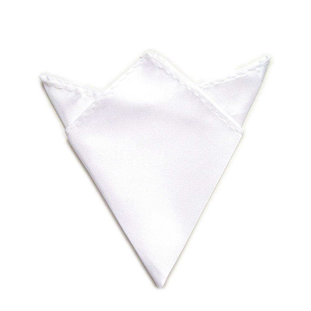 TopTie Mens Solid Color Pocket Square Handkerchief Towel-Silver