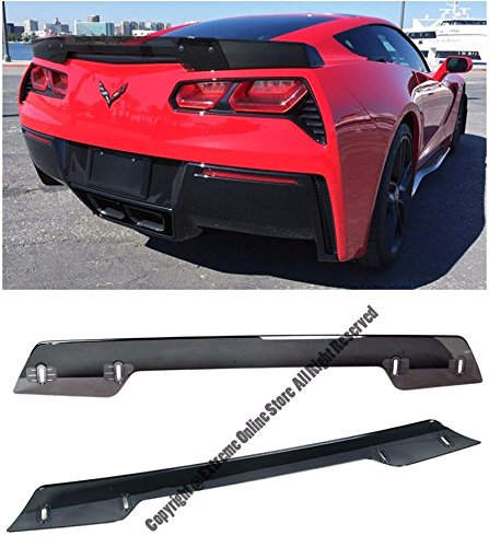 Z06's Z07 Performance Stage 3 Style Smoke Tinted Rear Trunk Center Wickerbill Spoiler For 14-Up Chevrolet Corvette C7 2014 2015 2016 2017 2018 14 15 16 17 18 Z06