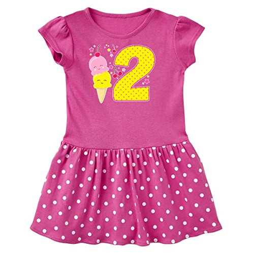 (inktastic - Ice Cream Second Toddler Dress 2T Raspberry with Polka Dots 2f6e9)