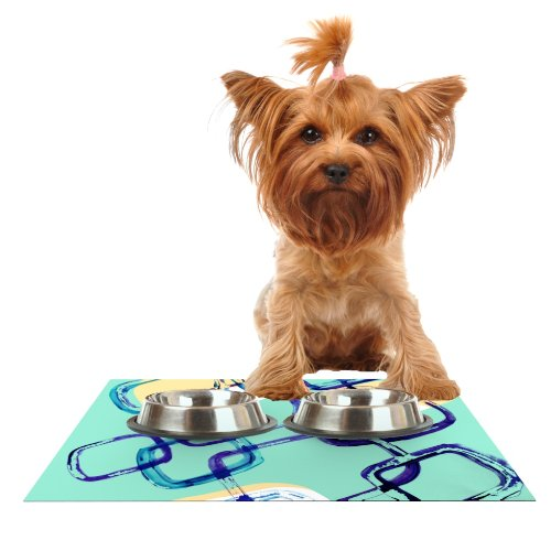 Kess InHouse Theresa Giolzetti Sixties Exposure  bluee Teal Feeding Mat for Pet Bowl, 18 by 13-Inch