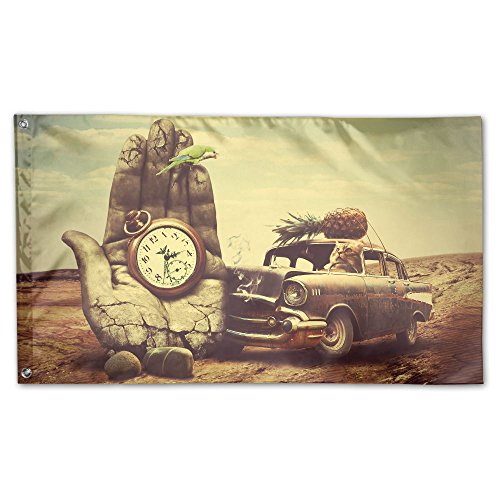 Cat Driving A Car Stone Hand Clock Creative Design Garden Lawn Flags Indoor Outdoor Decoration Home Banner Polyester Sports Fan Flags 3 X 5 Foot -