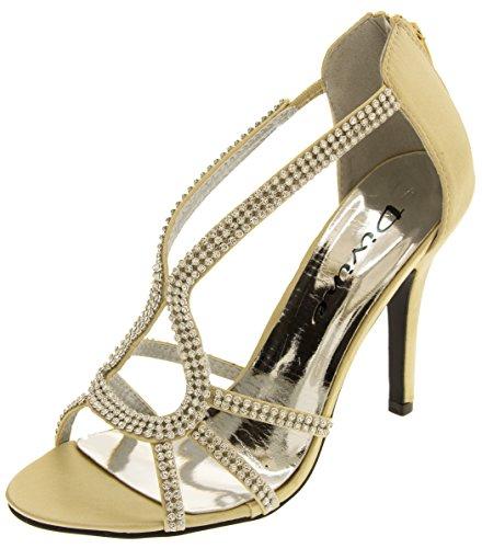 Divine Mujer Diamante de Satén Zapatos de Tacones Altos Oro