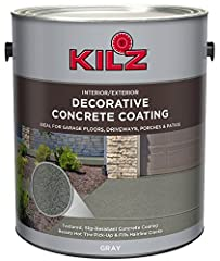 Breathe new life into your concrete surfaces with KILZ interior/exterior decorative concrete paint formulated for driveways, garage floors, pool decks, patios & porches. Easy to apply concrete paint fills in hairline cracks up to 3 mm and...