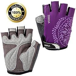 VEBE Women/Girls/Boys Half Finger Anti-slip Biking Gloves Cycling Gloves Riding Accessories,Color Purple,Palm Width about 6-7 CM