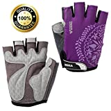 VEBE Women/Girls/Boys Half Finger Anti-slip Biking Gloves Cycling Gloves Riding Accessories,Color Purple,Palm Width about 7-8 CM