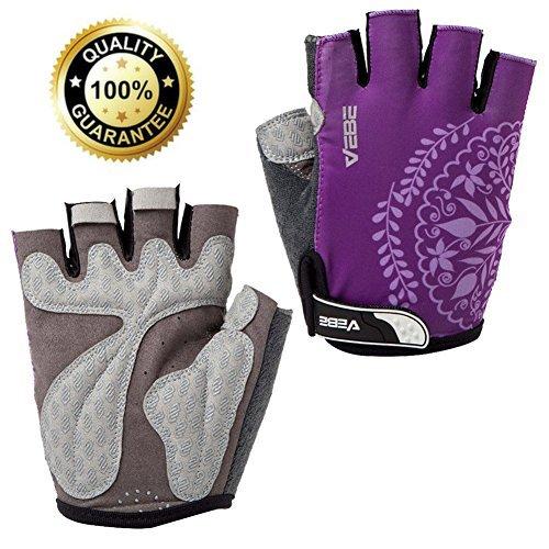 VEBE Women/Girls/Boys Half Finger Anti-slip Biking Gloves Cycling Gloves Riding Accessories,Color Purple,Palm Width about 6-7 CM -