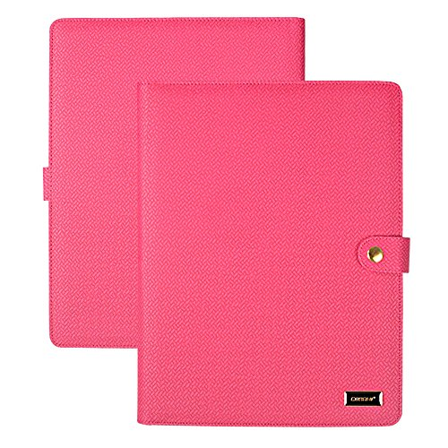 Binder Portfolio (CORNMI Padfolio Resume Portfolio Folder, PU Leather File Folders with 5 Card Slots & Phone/iPad Pockets - Presentation Office Organizer Folder ( Business Portfolio Padfolio-Rose))