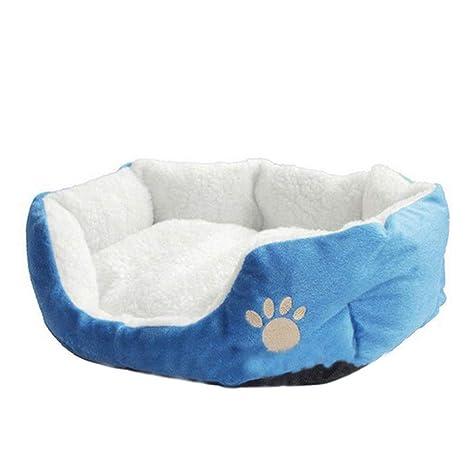 Doitsa 1Pcs Cama para Mascotas para Perro Gato Lindo Suave Cama de Perro de Forma Redonda Casa de Mascota (Azul, L)