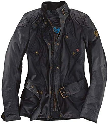 Chaqueta de moto Hairpin Belstaff para mujer (algodón encerado, color negro) 42: Amazon.es: Coche y moto