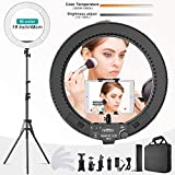 Ring Light 19 inch LED Outer Adjustable Color Temperature 3000-5800K with Stand, dimmable Video LED Light kit for YouTube Makeup, Telephone Adapter, Video Recordings, Portrait, vlog, Selfie