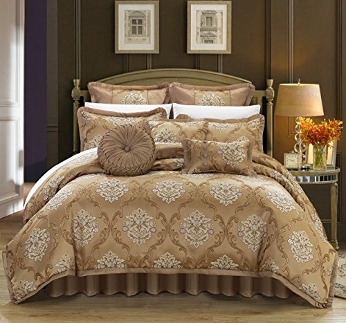 - Perfect Home 9 Piece Angelo Decorator Upholstery Quality Jacquard Scroll Fabric Complete Master Bedroom Comforter Set and pillows Ensemble, Queen, Gold