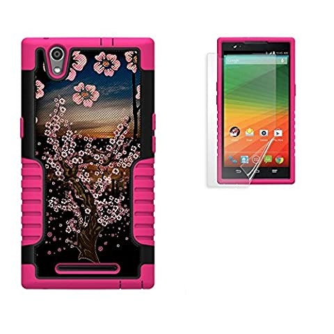Spots8® for ZTE ZMax Z970 phone case, Heavy Duty Protection Case with built-in kickstand & FREE Screen Protector [Cherry Blossom (Zte Zmax Phone Case Z970)
