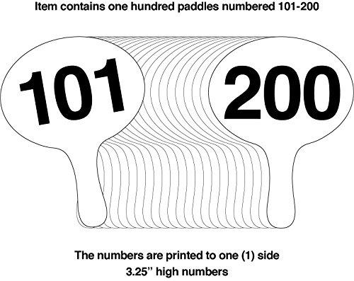 101-200, RIGID 3.5mm Cartonplast, Better Bidders Oval shape Auction Paddle Set, 1-piece white plastic