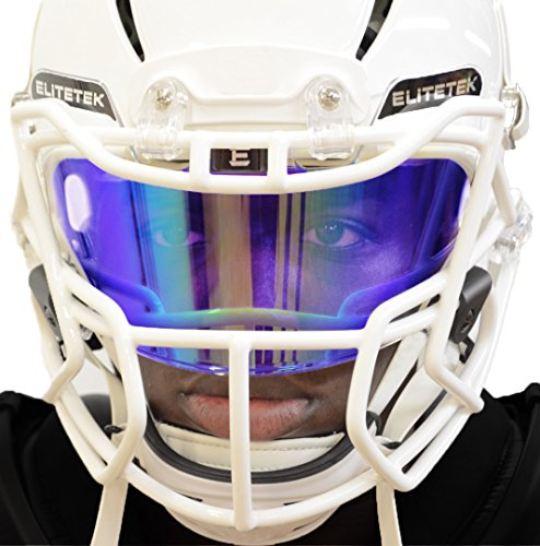 PRIZM Football Eye-Shield Facemask Visor by EliteTek - Universal Fits Youth & Adult Helmets (Purple Rain)