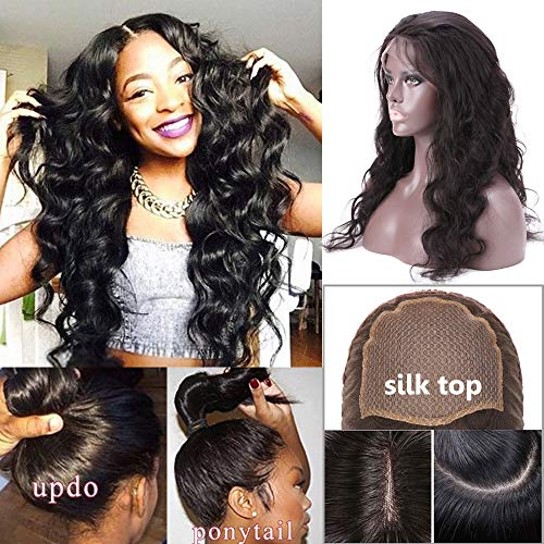 - Glueless Silk Top Full Lace Wigs Human Hair for Women 4x4 Silk Base Pre Plucked Swiss Lace Mid-Length Long Body Wave Remy Hair with Baby Hair Natural Black (14 inch, 130% density, 1B)