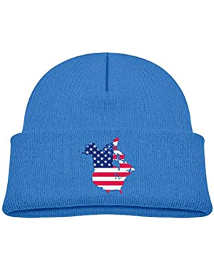 Fashion Flag Map of Canada and United States Printed Toddlers Baby Winter Hat Beanie