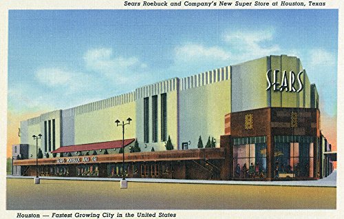 Houston, Texas - Exterior View of Sears Roebuck and Co Department Store (24x36 Fine Art Giclee Gallery Print, Home Wall Decor Artwork ()