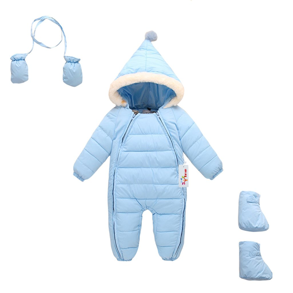 Vine Baby Girls Snowsuit Winter Hooded Romper Warm One-piece Outfits, Pink 12-18 Months Vine Trading Co. Ltd C160928MY00219V