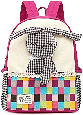 CUILEE Mochila para niños bebés Mochilas para niños con Conejo Mascotas para guardería Niños (Rosa Roja)