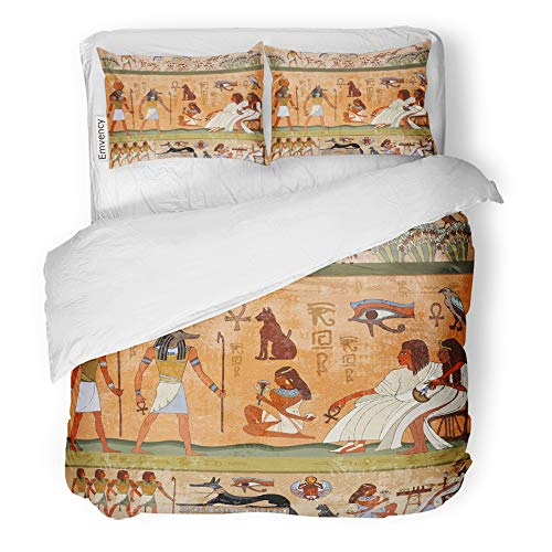 Emvency Decor Duvet Cover Set Full/Queen Size Ancient Egypt Scene Murals Hieroglyphic Carvings on The Exterior Walls 3 Piece Brushed Microfiber Fabric Print Bedding Set -