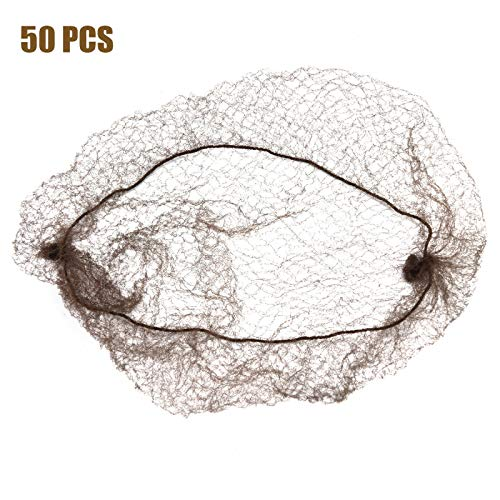 Timoo 50 PCS Hair Nets for Ballet Bun Elastic Edge Mesh Coffee Invisible Hairnets, 20 Inches