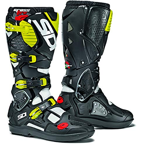 - Sidi Crossfire 3 TA Boots (EU 44/US 10) (WHITE/BLACK/FLO YELLOW)