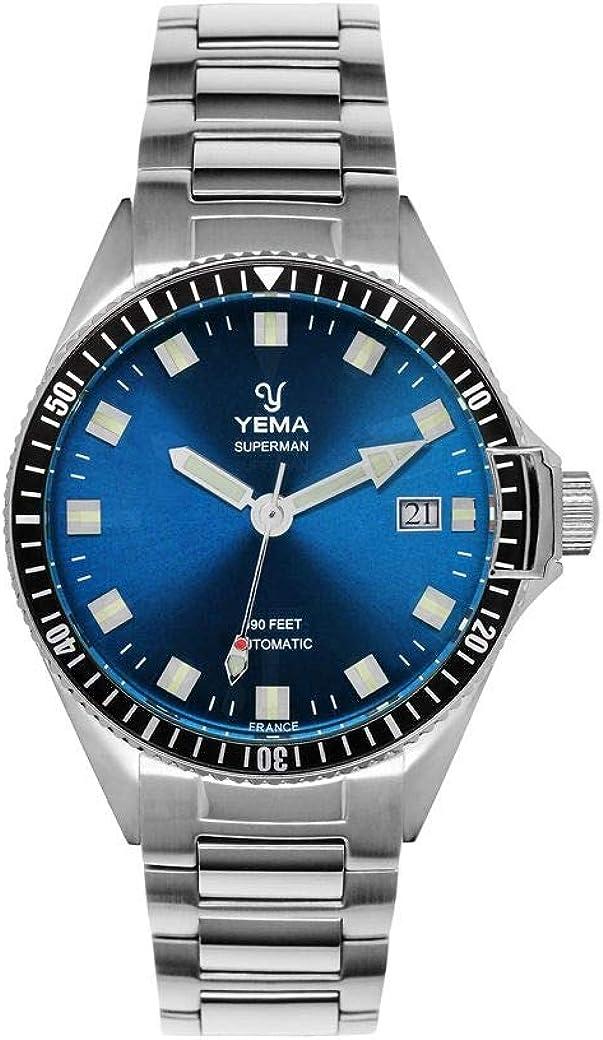 Reloj Yema de acero para hombre, color plateado