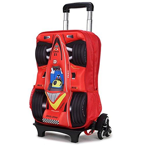 Deer Mum Children Boy's Car Pattern wheeled Travel Rolling backpack (Red)