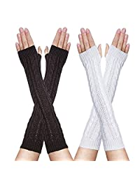 FZAY 2 Pairs Womens Winter Knit Long Fingerless Gloves - Thumbhole Arm Warmers (White & Coffee)