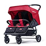 Hzl Lightweight Double Stroller Independently Reclining Seats, Everyday Umbrella Twin Stroller System, Easy