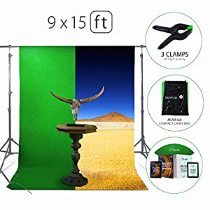 Green Screen Photo Backdrop or Background 9?15 Ft – 100% Cotton Muslin Chromakey Curtain Collapsible Set for Photography Studio Videos Gaming - Included 3 Backdrop Clamps & a Carry Bag by MUVR lab