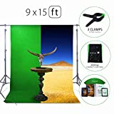 Green Screen Photo Backdrop or Background 9х15 Ft – 100% Cotton Muslin Chromakey Curtain Collapsible Set for Photography Studio Videos Gaming - Included 3 Backdrop Clamps & a Carry Bag by MUVR lab