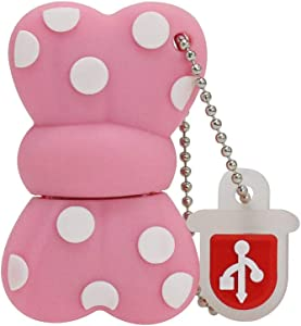 Aneew 16GB Pendrive Cartoon Cute Pink Bowknot Bow Model USB Flash Drive Memory Stick Girl Gift