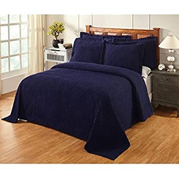 Oversized Navy Blue Chenille Bedspread King 120x110 Vintage Western Extra Long